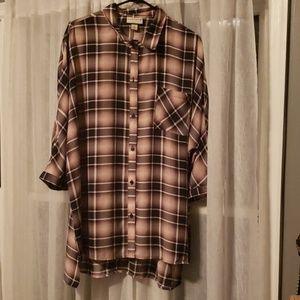 Ava and Viv pink/grey plaid tunic